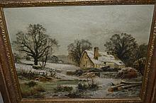 Edgar Longstaffe, oil on canvas, ' Peter's Cottage ', (snow scene), Hampshire, signed with monogram and dated 1894, 12ins x 15ins, gilt framed