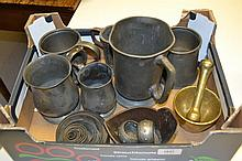 Collection of various pewter tankards, brass pestle and mortar and an oriental bowl