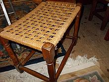 Two oak woven rush seated stools and a modern hardwood woven leather luggage rack