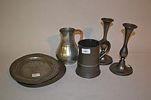 Antique pewter quart tankard, two antique pewter plates and other miscellaneous items of pewter