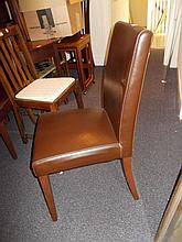Set of eight modern brown leatherette upholstered dining chairs on square tapering supports