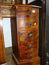 Modern oriental hardwood narrow chest of five drawers with metal ring handles