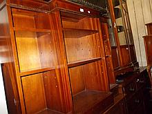 Reproduction mahogany line inlaid breakfront open bookcase