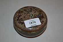Circular cloisonne pot and cover decorated with flowers and butterflies (a/f)