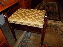 Edwardian mahogany and line inlaid box seat piano stool