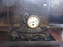 19th Century patinated spelter figural mantel clock with a single train movement