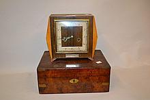 Art Deco walnut cased two train mantel clock and a Victorian walnut brass bound writing box (a/f)