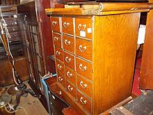 Small oriental ash chest of fifteen drawers
