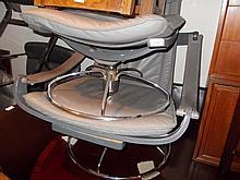 Nelo 20th Century Swedish grey leather reclining armchair with stool