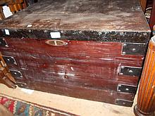 19th Century metal banded pine silver trunk