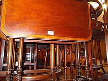 Edwardian mahogany satinwood crossbanded drop-leaf Sutherland table