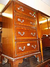 Small reproduction mahogany and line inlaid four drawer chest