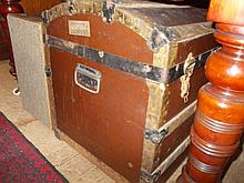 19th Century metal banded and wooden slatted dome top travelling trunk