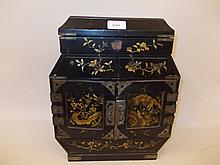 Chinese black lacquered chinoiserie decorated table cabinet