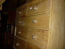 Victorian stripped pine chest of two short and three long drawers with knob handles