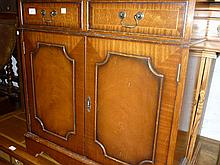 Small reproduction mahogany two door and two drawer side cabinet, small reproduction mahogany bow front four drawer bedside chest and a similar three drawer chest