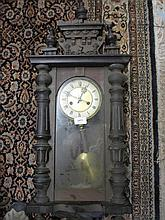 Small 19th Century Vienna style walnut two train weight driven wall clock (for restoration)
