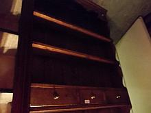Good quality oak wall bracket with open shelves above three small drawers