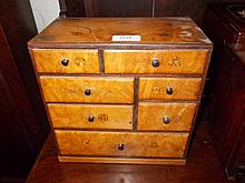 Japanese parquetry inlaid seven drawer table cabinet