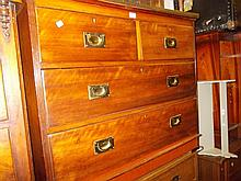 Victorian walnut brass mounted straight front chest of two short and two long drawers with brass inset handles