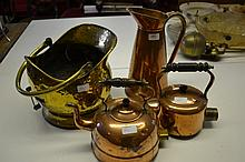 Large copper jug, two copper kettles and a brass coal scuttle