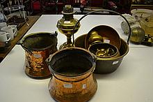 Brass oil lamp, two copper cooking pots, a brass preserve pan and a small quantity of other brass ware