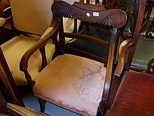 19th Century mahogany open armchair with carved back, a Hepplewhite style carved side chair on square tapering reeded supports