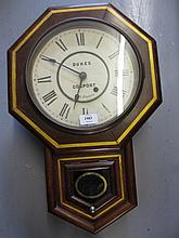 19th Century American octagonal drop-dial wall clock by Seth Thomas, the dial with Roman numerals inscribed Dukes, Gosport
