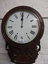 19th Century American circular drop-dial wall clock, the painted dial with Roman numerals and two train movement