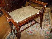 Edwardian mahogany satinwood inlaid piano stool