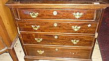 19th Century mahogany four drawer straight front chest (with alterations)
