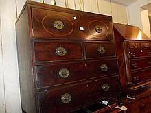 19th Century mahogany secretaire bookcase base, the fitted long drawer above two short and two long further drawers, raised on square spade supports (a/f)