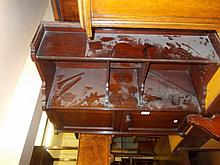 Mahogany wall cupboard with open shelves above two doors and fitted interior
