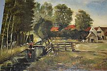 Oil on board, rural scene with figure and farm