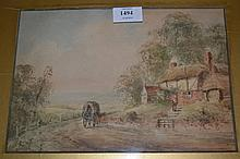 E. Nevil, watercolour with cottage in a landscape