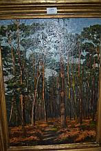 J. Hunter, oil on canvas, view in a pine forest,