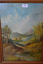 Pair of oils on board, Highland scenes with