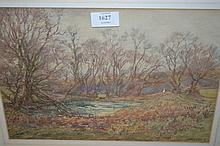 W. Rainey, watercolour, landscape with a mill
