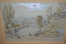 19th Century pencil and watercolour study, river