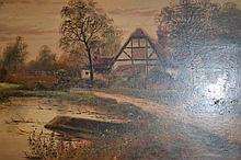 Henry Cole, oil on panel, a rural village with