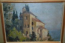 Helen Laudy - Demulin, oil on card, chateau by a