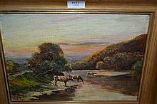 19th Century oil on canvas, cattle by a Highland