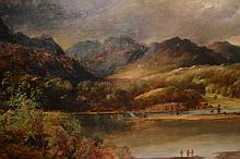 19th Century oil, lakeland landscape with figures,