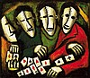 PRO HART (1928-2006) Miners with Cards oil on