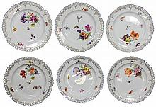 KPM Berlin Set of Six Late 19th Century Pierced Dessert Plates