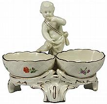 KPM Berlin Early 19th Century Cherub Double Salt