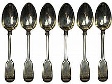 English Hallmarked Sterling Silver Victorian Set of Six Table Spoons