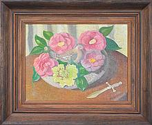 Florence Broadhurst (1899 - 1977) - Still Life, Pigeon Among Roses 32 x 42cm