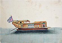 Chinese School (XIX) - Collection of Eleven Chinese Trade Illustrations of Junks and Sampans c.1820 each approx. 18 x 26cm