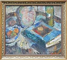 Judy Cassab (1920 -) - Still Life - Fruit, Vase, Book & Bottle 44.5 x 51cm